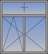 Dvokrilni okretno-nagibni prozor sa fiksnim svetlarnikom sa gornje strane