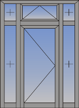 Jednokrilna vrata sa otvaranjem na unutra/spolja, zaštitom od sunca i fiksnim svetlarnikom