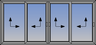 Cetvorokrilni klizni prozor sa suceonim otvaranjem