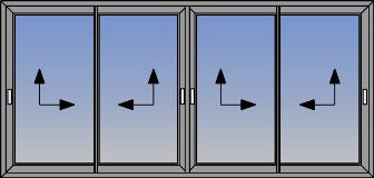 Ugaona tipologija prozora sa horizontalno kliznim krilima 90°