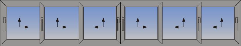 Šestokrilni podizno-klizni sistem sa suceonim otvaranjem i niskim ramom