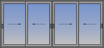 Četvorokrilni klizni prozor sučeono otvaranje