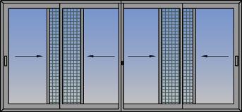 Četvorokrilni klizni prozor sa suceonim otvaranjem i komarnikom
