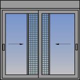 Dvokrilni horizontalno klizni prozor sa komarnikom i roletnom