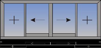 Dvokrilni klizni prozor sa suceonim otvaranjem i fiksnim svetlarnikom