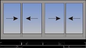 Cetvorokrilni klizni prozor sa suceonim otvaranjem sa spoljne strane