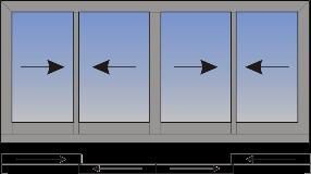 Cetvorokrilni klizni prozor sa suceonim otvaranjem sa unutrašnje strane