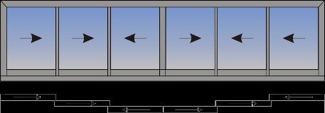 Šestokrilni klizni prozor sa suceonim otvaranjem sa unutrašnje strane