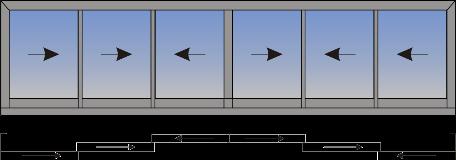 Šestokrilni klizni prozor sa suceonim otvaranjem sa spoljne strane