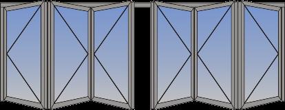 Neparan broj krila na dve strane (suceono otvaranje)